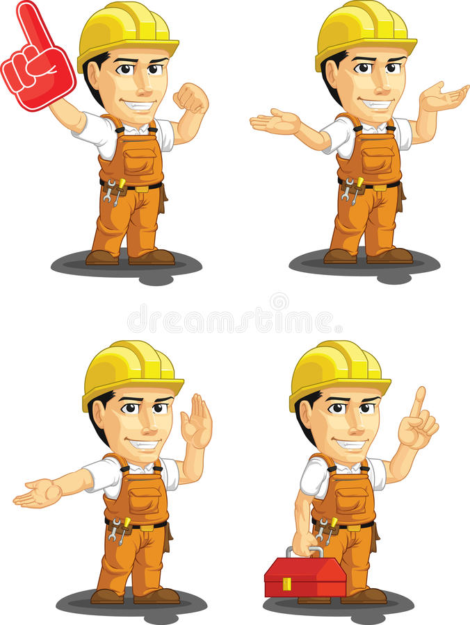Industriële Bouwvakker Customizable Mascot stock illustratie