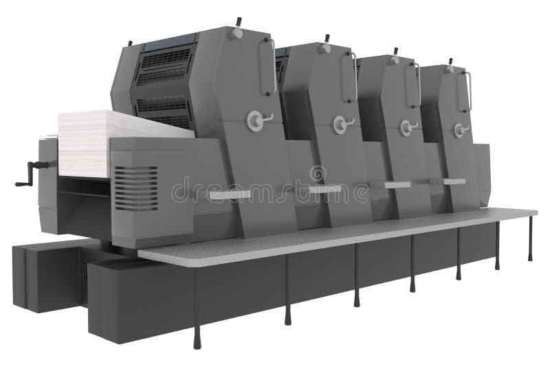 Industriële die drukmachine op wit wordt geïsoleerd stock foto's