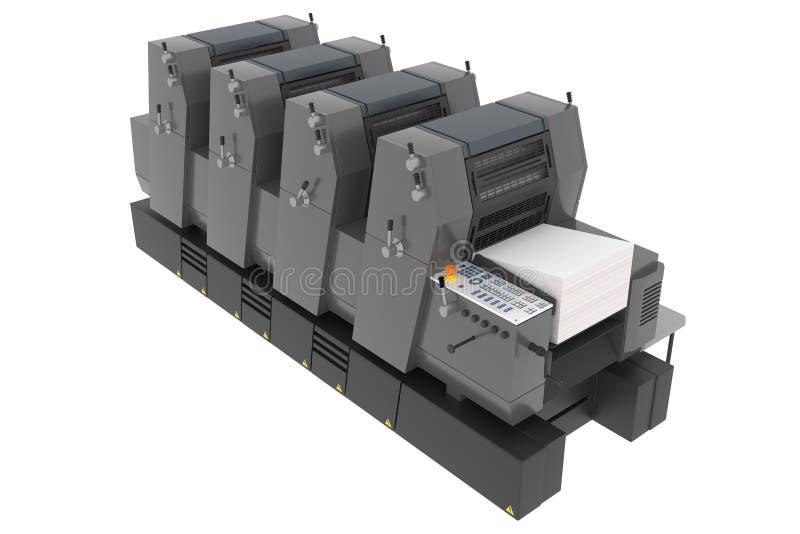 Industriële die drukmachine op wit wordt geïsoleerd royalty-vrije stock afbeelding