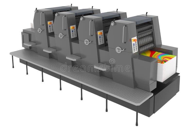 Industriële die drukmachine op wit wordt geïsoleerd royalty-vrije stock afbeeldingen