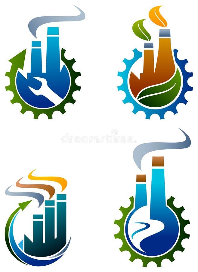 Industriële embleemreeks stock illustratie