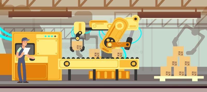 Industriële fabriekstransportband met het proces vectorconcept van de productieverpakking royalty-vrije illustratie