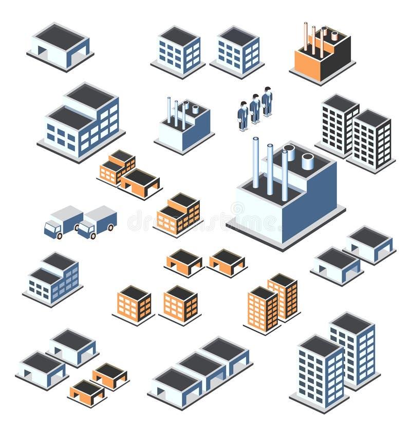 Industriële gebouwen royalty-vrije illustratie