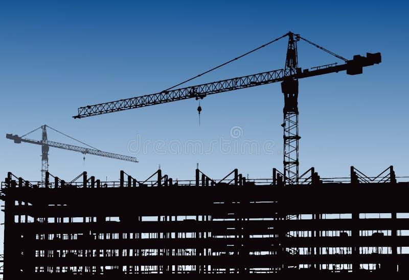 Industriële machines en de bouwkraan Kranen en wolkenkrabber in aanbouw, stadshorizon bij zonsondergang, zonsopgang Buildin vector illustratie
