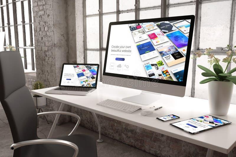 industriële ontvankelijke de websitebouwer van het bureaumodel stock foto