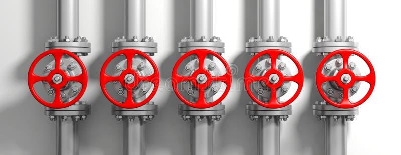 Industriële pijpleidingen en kleppen op witte muurachtergrond, banner 3D Illustratie stock illustratie