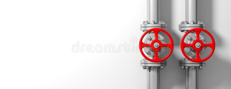 Industriële pijpleidingen en kleppen op witte muurachtergrond, banner, exemplaarruimte 3D Illustratie royalty-vrije illustratie