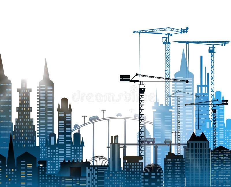 Industriële plaatsmening met kranen Zware industrie vector illustratie