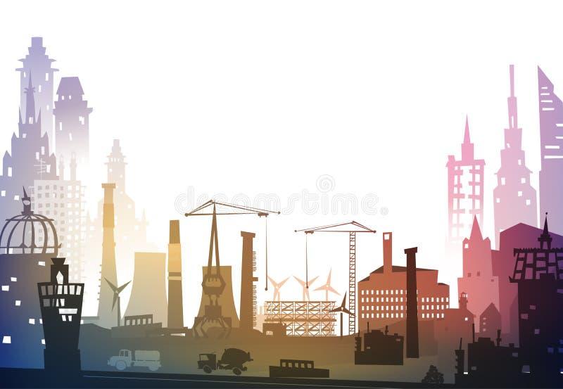 Industriële plaatsmening met kranen Zware industrie, Stadsachtergrond stock illustratie