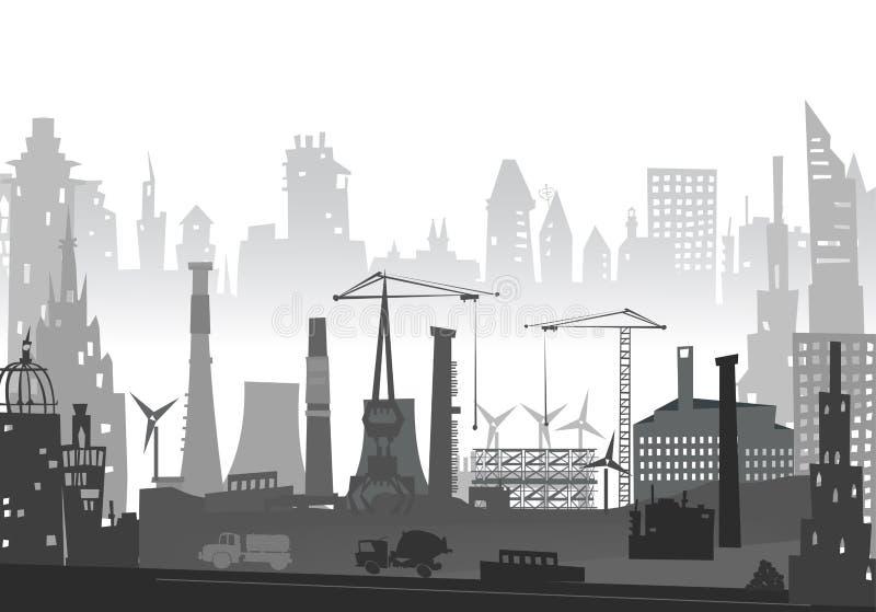 Industriële plaatsmening met kranen Zware industrieachtergrond royalty-vrije illustratie