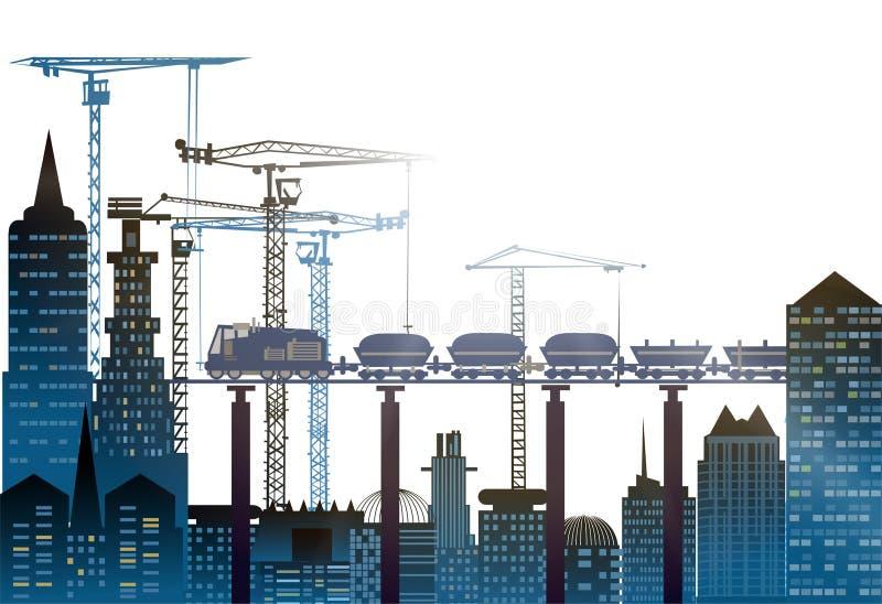 Industriële plaatsmening met kranen Zware industrieachtergrond vector illustratie