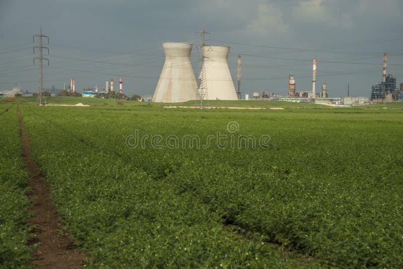 Industriële raffinaderijkoelers op een katoenen gebied in Haifa, Israël stock fotografie
