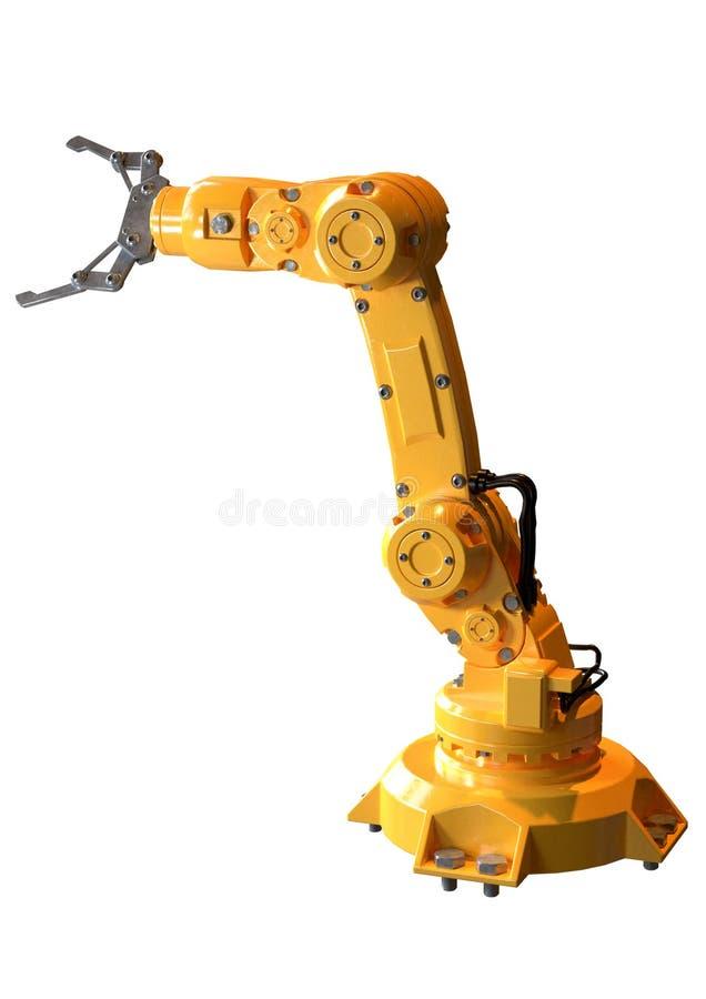 Industriële robot-arm geïsoleerd over witte achtergrond Apparatuur voor de automobielindustrie stock illustratie