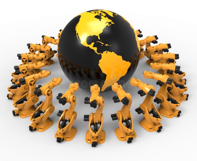 Industriële robotachtige productie wereldwijd royalty-vrije illustratie