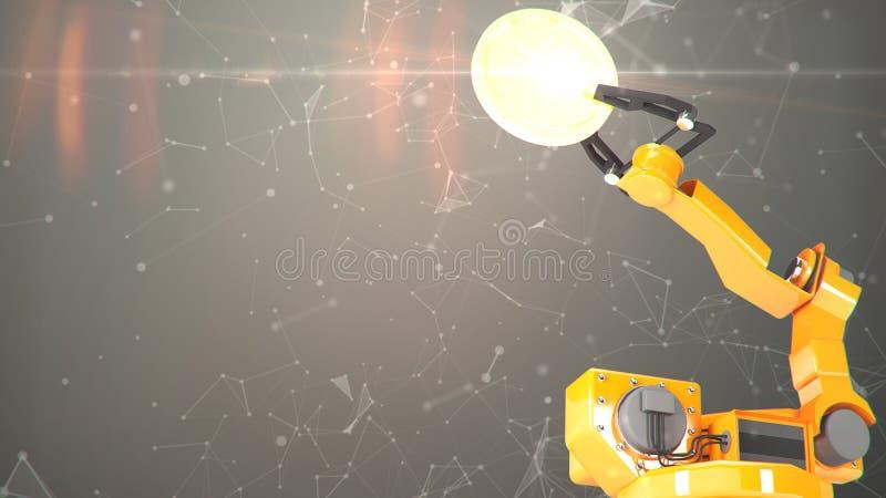 Industriële robotachtige wapens met het lege transportband 3D teruggeven vector illustratie