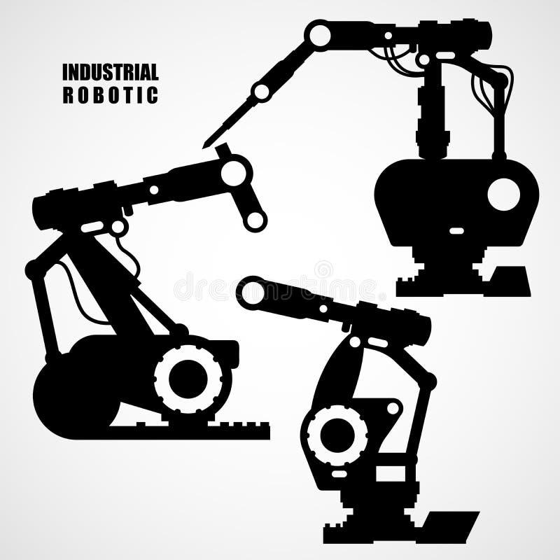 Industriële robotica - de hulpmiddelen van transportbandmachines stock illustratie