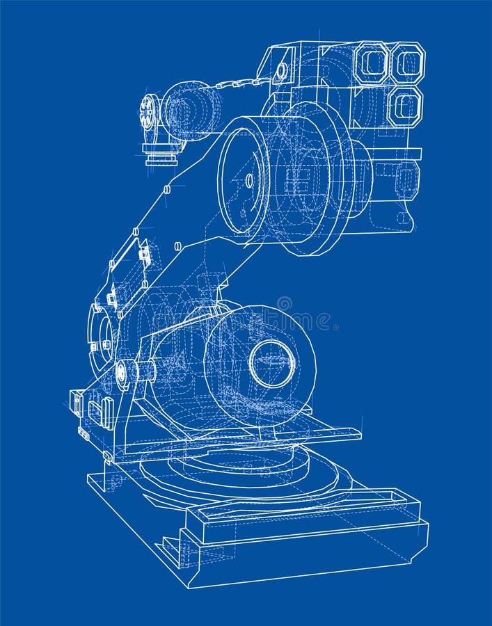 Industriële robotmanipulator Vector beeld stock illustratie
