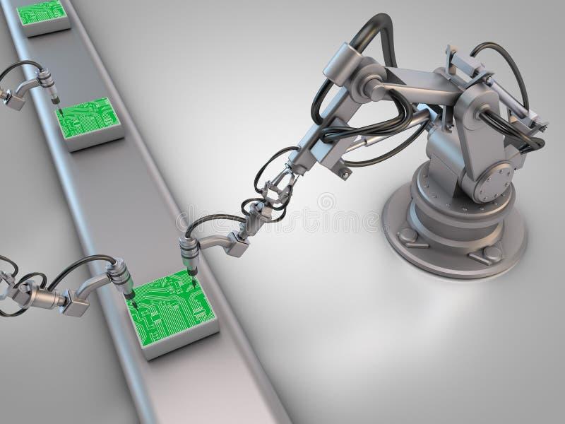 Industriële robots met kringsraad stock illustratie