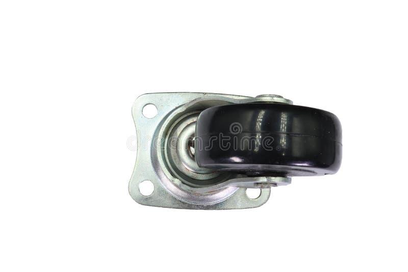 Industriële Rubber de Gietmachinewielen van de karretje enige Wartel met Hoogste vaste niet die Plaat en onderbreking, op witte a stock afbeelding