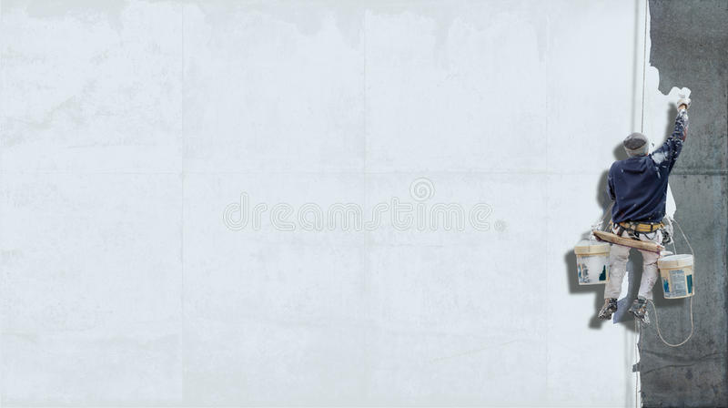 Industriële schilders witte achtergrond stock fotografie