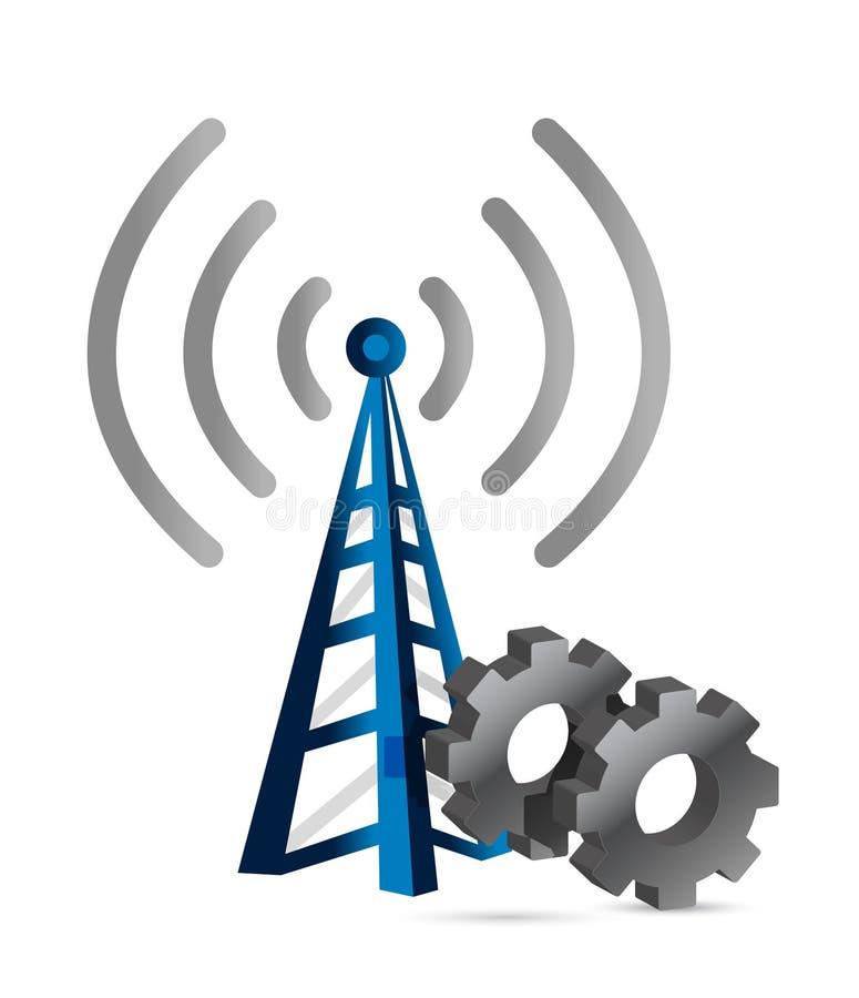 Industriële toestellen over een wifitoren vector illustratie
