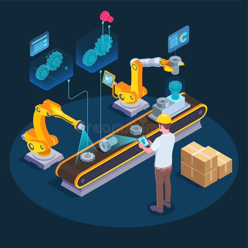 Industriële Vergrote Werkelijkheids Isometrische Samenstelling stock illustratie