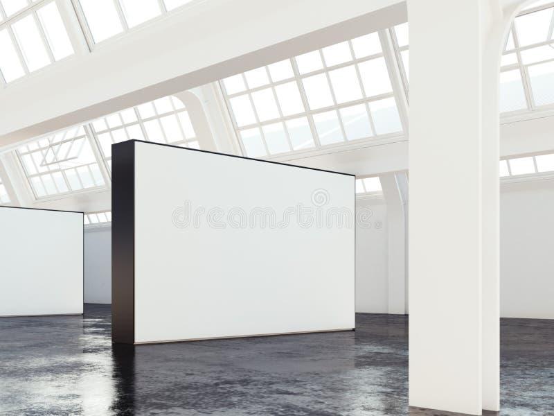 Industriële zoldergalerij met blinde muur het 3d teruggeven royalty-vrije illustratie