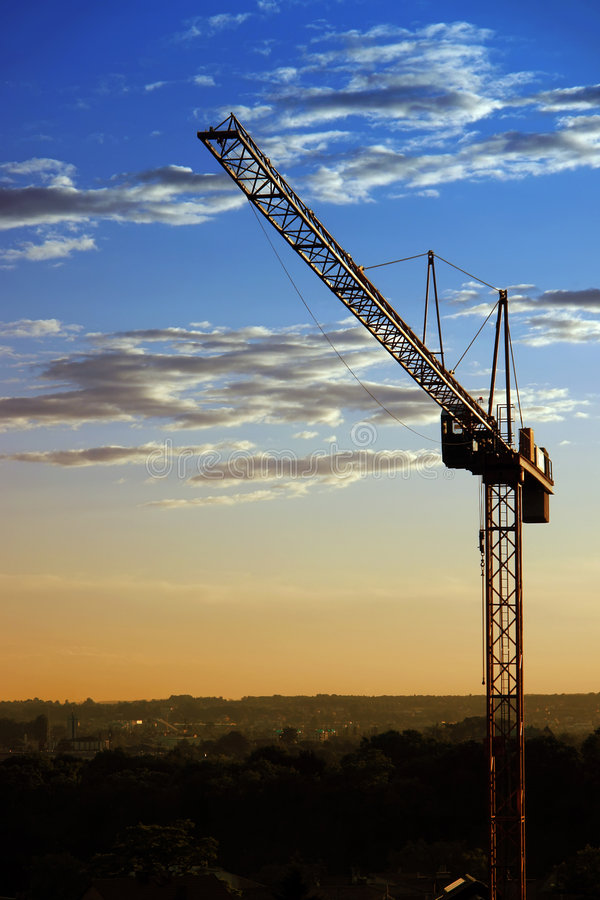 Industriële zonsondergang stock foto's