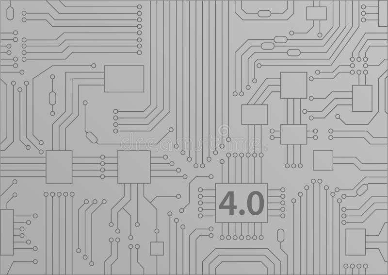 industri 4 0 begrepp som bakgrund med illustrationen för strömkretsbräde/CPU royaltyfri illustrationer