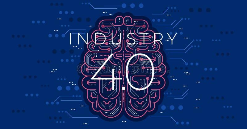 industri 4 0 begreppsvektorillustration Fjärde industriella revolution stock illustrationer
