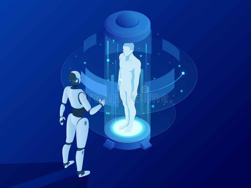 industri 4 0 Cyber-läkarundersökning systembegrepp Isometrisk robotcyborg med konstgjord intelligens som arbetar på abstrakt hud royaltyfri illustrationer
