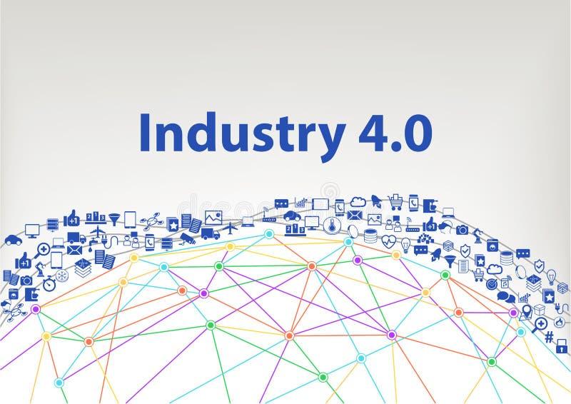 industri 4 0 illustrationbakgrund Internet av sakerbegreppet som visualiseras av jordklotwireframe och anslutningar stock illustrationer