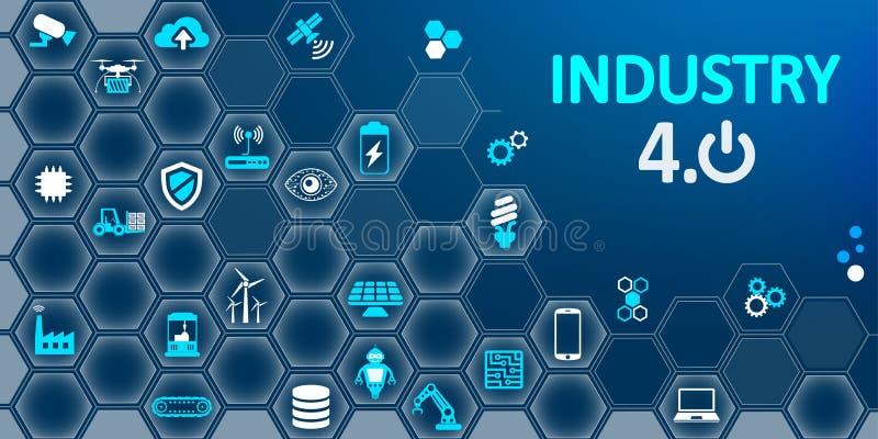 """industri 4 0 infographic fabrik av den framtida â€en """"för materiel vektor illustrationer"""