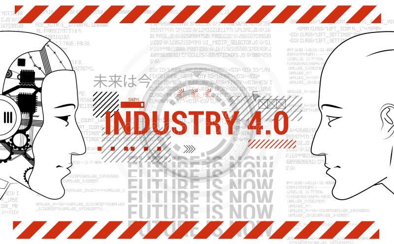 Industri 4 0 konceptbanderoll Robot och människa vektor illustrationer