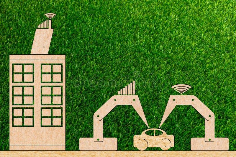 industri 4 0 tillverkningbil genom att använda en robot royaltyfri fotografi