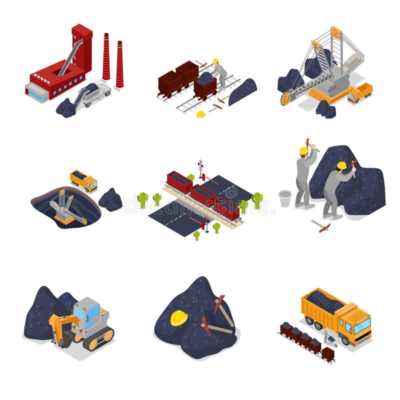 Industria carboniera isometrica con i lavoratori nei miei con l'escavatore, il minatore e l'attrezzatura royalty illustrazione gratis