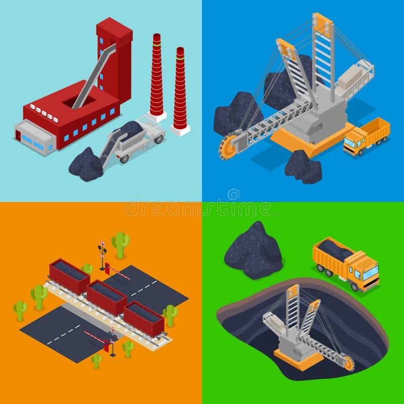 Industria carboniera isometrica con la pianta, il minatore ed i camion royalty illustrazione gratis