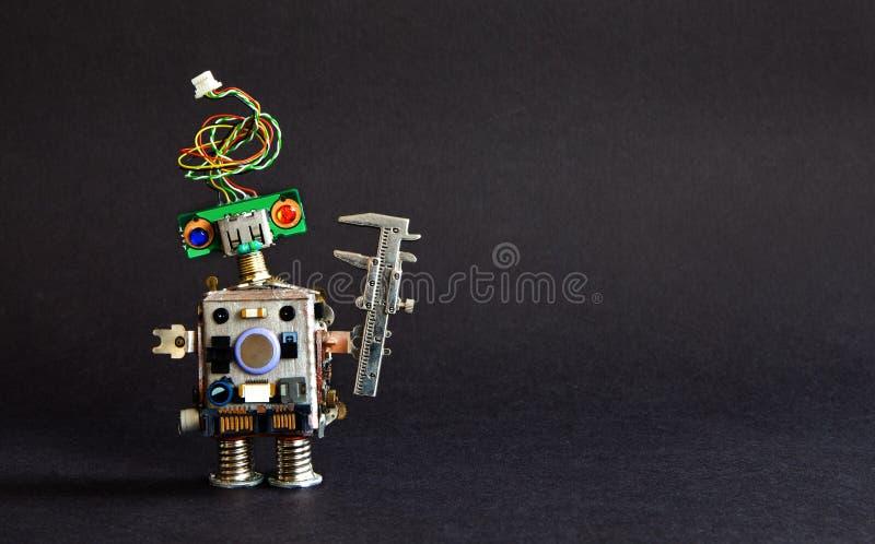 Industria 4 0 conceptos de la tecnología de la automatización Calibrador creativo del ingeniero del robot del diseño en fondo neg fotos de archivo
