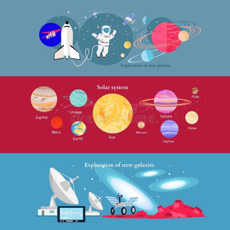 Industria cosmica di esplorazione spaziale di concetto illustrazione di stock