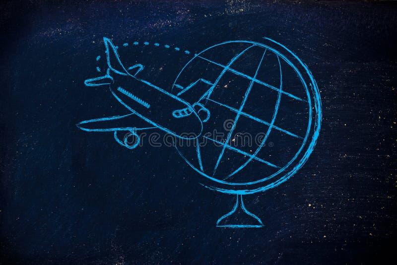 Industria de viajes: aeroplano y vuelo alrededor del globo imágenes de archivo libres de regalías