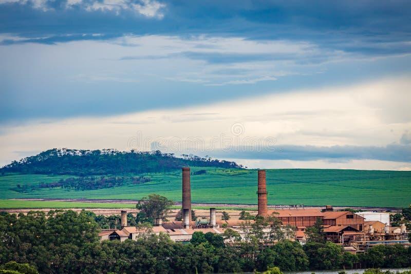 Industria della fabbrica della canna da zucchero - Sao Paulo, Brasile fotografia stock