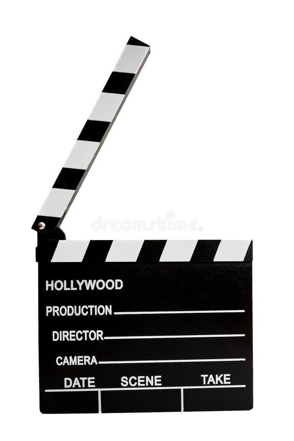 Industria do cinema e direção de um conceito do filme com uma ripa isolada no branco com um entalhe do trajeto de grampeamento, n foto de stock