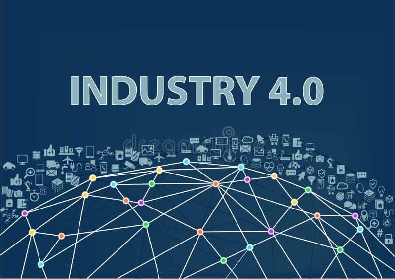 industria 4 0 fondi dell'illustrazione Internet del concetto di cose visualizzato dal wireframe del globo illustrazione vettoriale