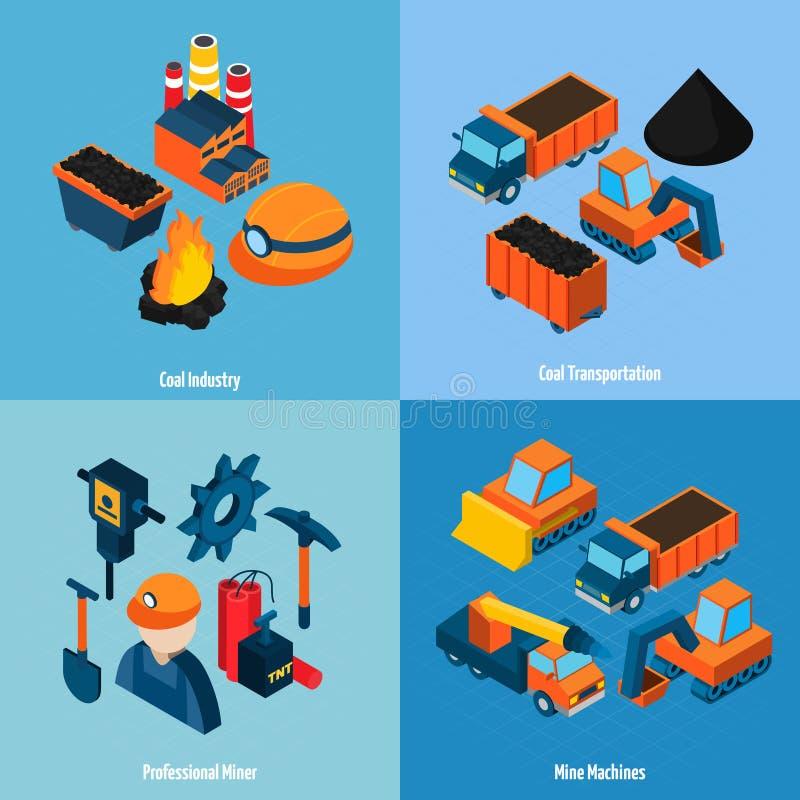 Industria hullera isométrica stock de ilustración