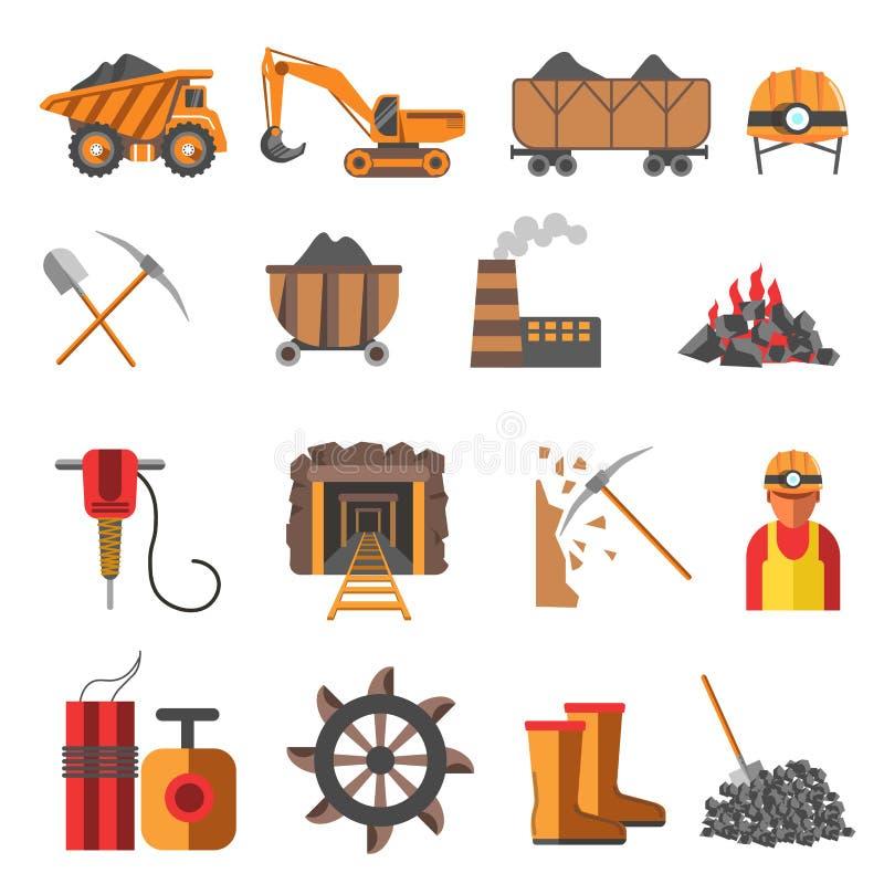 Industria hullera minera fijada iconos ilustración del vector