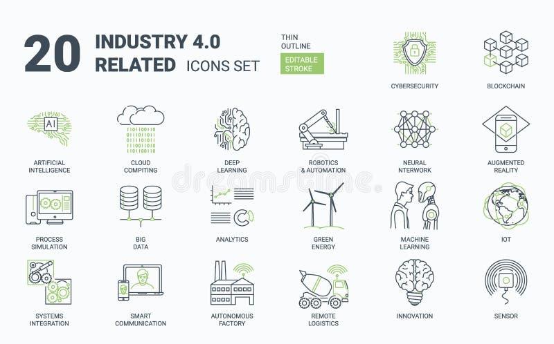 industria 4 Icone semplici 0 messe con il colpo editabile e lo stile lineare illustrazione vettoriale
