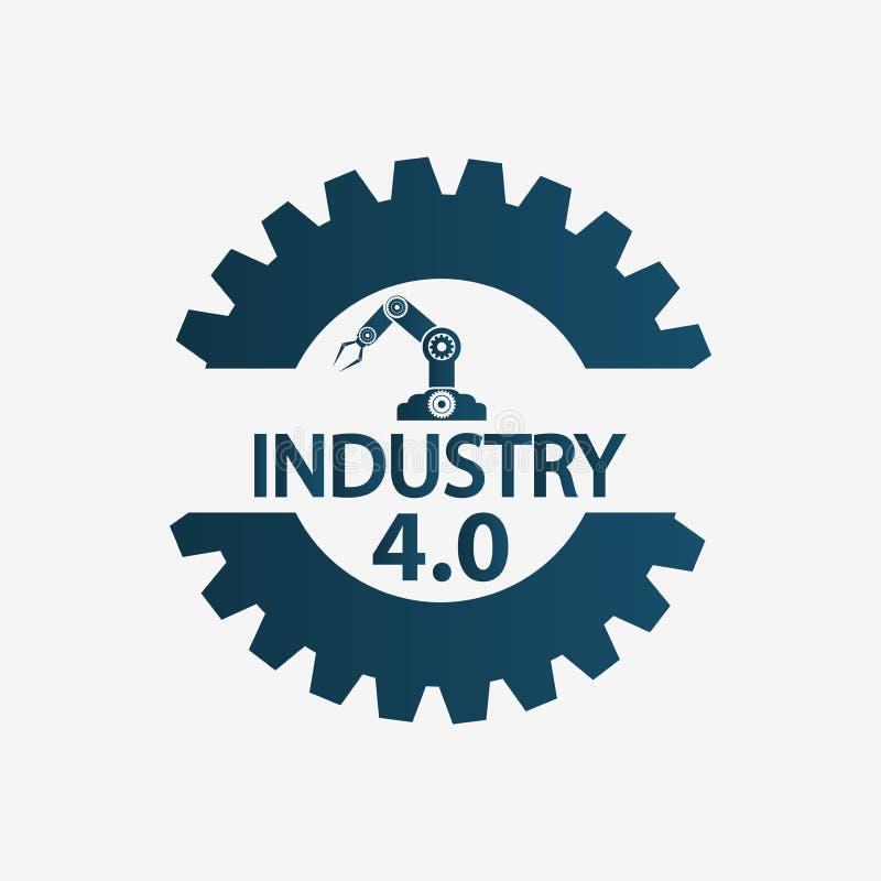 Industria 4 0 iconos, fábrica, concepto de la tecnología Ilustración del vector ilustración del vector