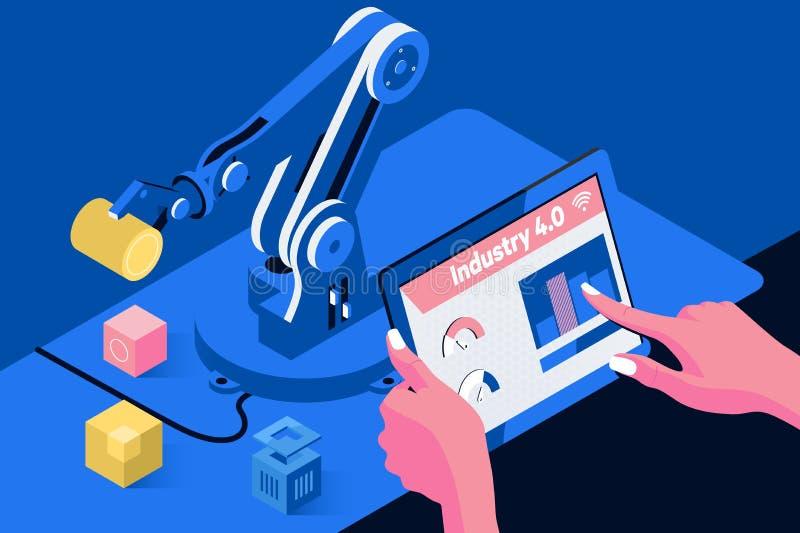 Industria 4 La palabra del color rojo situada sobre el texto del color blanco Mano del ingeniero usando la tableta, máquina pesad ilustración del vector