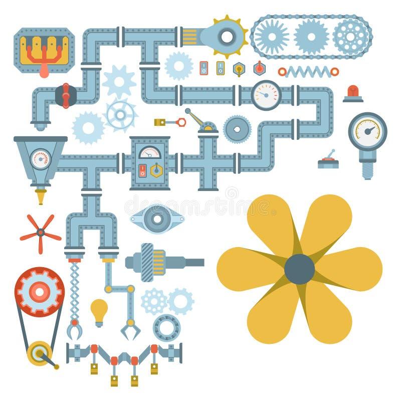 Industria mecánica del equipo del engranaje del diseño de detalle del trabajo de la fabricación de diverso vector del mecanismo d stock de ilustración