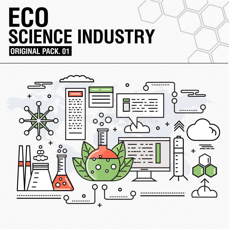Industria moderna de la ciencia del eco Línea fina iconos fijados ilustración del vector